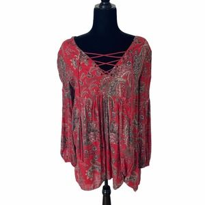 Free People Dress Floral Red Purple Babydoll Flowers Lace Up Tie Front Size XS